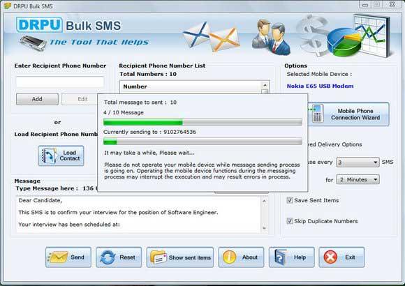 PC to SMS screenshot