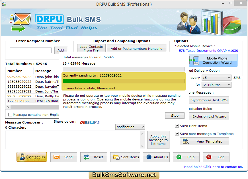 ParagonSMS - Send SMS in bulk from PC to Mobile in Pakistan